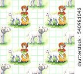 girl and lambs  watercolor ... | Shutterstock . vector #540981043