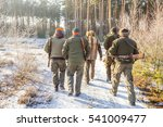 hunters go to the forest to hunt | Shutterstock . vector #541009477