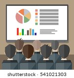 large tv screen with chart pie...   Shutterstock .eps vector #541021303