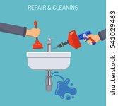 plumbing service concept repair ... | Shutterstock .eps vector #541029463