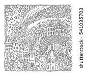 vector fantasy landscape. fairy ... | Shutterstock .eps vector #541035703