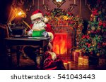 santa claus makes a list of... | Shutterstock . vector #541043443