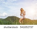 young hipster woman with retro... | Shutterstock . vector #541052737
