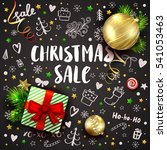 christmas sale template with... | Shutterstock .eps vector #541053463