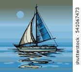 Sailing Boat Vector Color...