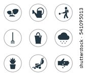 set of 9 editable garden icons. ...