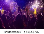 cheering crowd and fireworks   ... | Shutterstock . vector #541166737