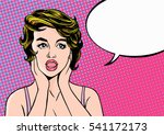 pop art surprised woman with... | Shutterstock .eps vector #541172173