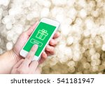 hand holding mobile and click... | Shutterstock . vector #541181947