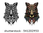 hand drawn wolf head with... | Shutterstock .eps vector #541202953