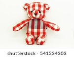 Red Plaid Teddy Bear On White...