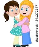 two girls hugging | Shutterstock .eps vector #541272397