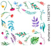 watercolor pattern with flowers ... | Shutterstock . vector #541287973