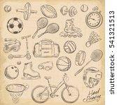 sport sketch equipment. drawing ... | Shutterstock .eps vector #541321513