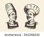 happy chef in hat. sketch... | Shutterstock .eps vector #541348243