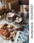 metal mugs with cacao and... | Shutterstock . vector #541354537