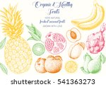 fruits top view frame. farmers... | Shutterstock .eps vector #541363273