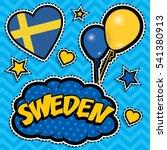 happy birthday sweden   pop art ... | Shutterstock .eps vector #541380913