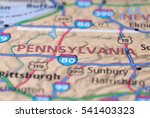 Small photo of Streets on the map around Pennsylvania