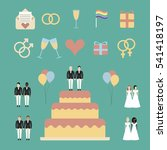 gay marriage icons set. lgbt.... | Shutterstock .eps vector #541418197