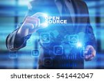 Stock photo businessman selecting open source on virtual screen 541442047