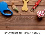 Stock photo concept pet care and training on wooden background top view 541471573