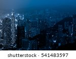elevated view of night scene of ... | Shutterstock . vector #541483597