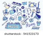 set of music instrument in...