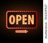 neon sign open. vintage... | Shutterstock .eps vector #541529527