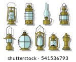 vector ancient lanterns and...