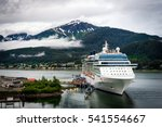 cruise ship at port in juneau ... | Shutterstock . vector #541554667