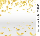 golden confetti falls isolated... | Shutterstock .eps vector #541654843