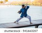 young man practicing kung fu or ... | Shutterstock . vector #541663207