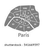 paris administrative map | Shutterstock . vector #541669597