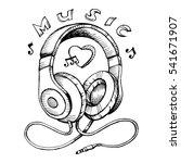 doodle style headphones sketch... | Shutterstock .eps vector #541671907