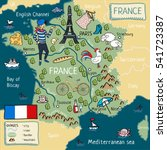 cartoon map of france. | Shutterstock . vector #541723387