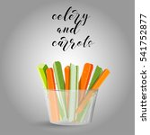 celery and carrots sticks. raw... | Shutterstock .eps vector #541752877