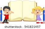 cartoon kids with pencil and... | Shutterstock .eps vector #541821457