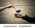 homeless. in the hands of one... | Shutterstock . vector #541844437