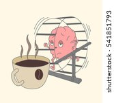 brain runs on a wheel to a cup... | Shutterstock .eps vector #541851793
