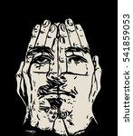 human face   illustration art... | Shutterstock . vector #541859053