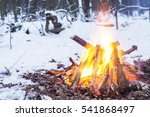 Small photo of Twilight in the forest. Snow around and only campfire lets survive tough time.