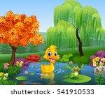 cartoon duck with happy frog | Shutterstock .eps vector #541910533