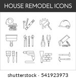 house remodel line icons. set... | Shutterstock .eps vector #541923973