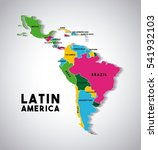 map of latin america with the... | Shutterstock .eps vector #541932103