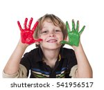 cute young boy playing with... | Shutterstock . vector #541956517
