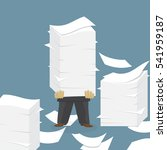 paper pile with a man flat... | Shutterstock .eps vector #541959187