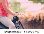 close up. little girl ride on... | Shutterstock . vector #541979743