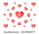 scattered red love heart on... | Shutterstock .eps vector #541982077