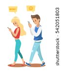 boy and girl playing smart... | Shutterstock .eps vector #542051803